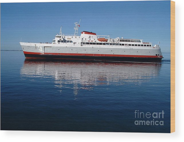 Boat Wood Print featuring the photograph Black Ball Ferry by Larry Keahey