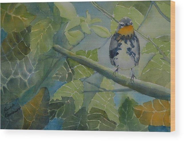 Bird Wood Print featuring the painting Blackburnian Warbler I by Ruth Kamenev
