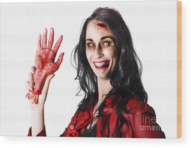 Awful Wood Print featuring the photograph Bloody Zombie Woman With Severed Hand by Jorgo Photography - Wall Art Gallery
