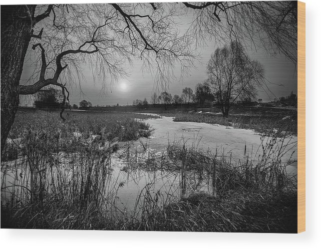 Other Keywords Wood Print featuring the digital art Blue Bayou Bw by Michael Damiani