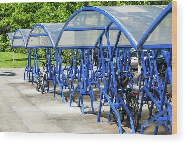 Bicycle Wood Print featuring the photograph Blue Bicycle Berth by Tom Cochran