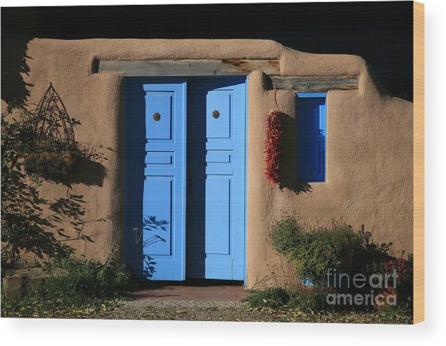 Doors Wood Print featuring the photograph Blue Doors by Timothy Johnson