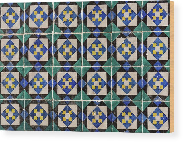 Lisbon Souvenirs Wood Print featuring the photograph Blue Green Lisbon Tiles Souvenirs by For Ninety One Days