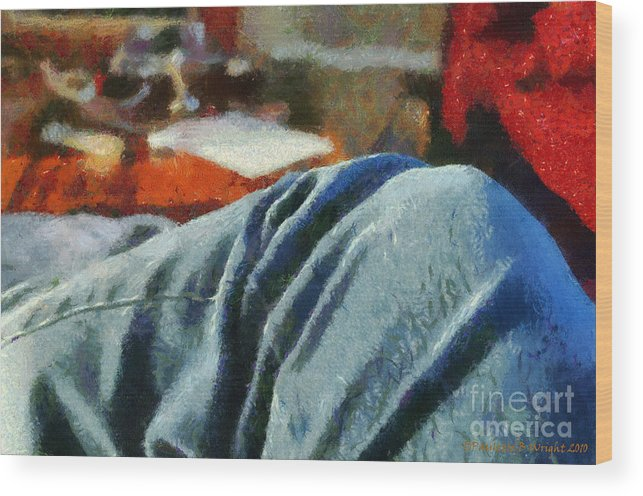 Painting Wood Print featuring the painting Blue Jean Morning by Paulette B Wright