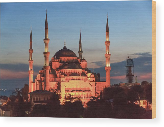 Asia Wood Print featuring the photograph Blue Mosque At Dusk by Emily M Wilson