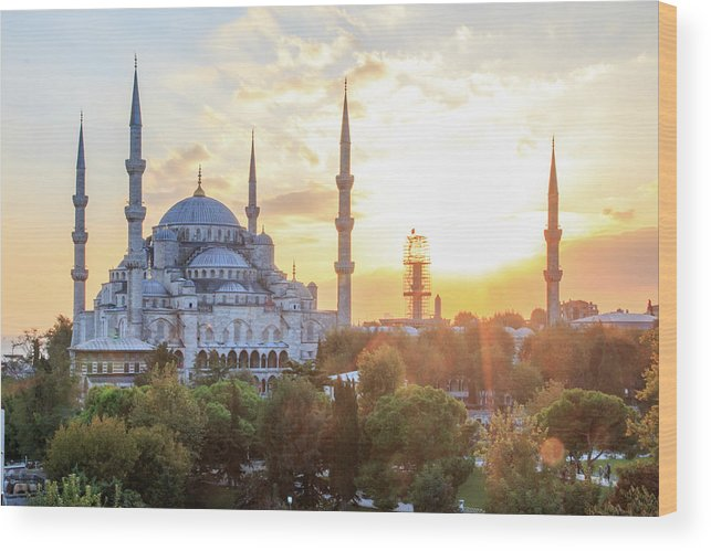 Asia Wood Print featuring the photograph Blue Mosque Sunset by Emily M Wilson