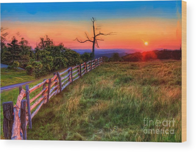 North Carolina Wood Print featuring the painting Blue Ridge Sunrise At Doughton II by Dan Carmichael
