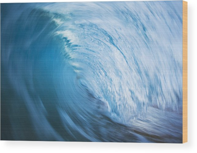 Abstract Wood Print featuring the photograph Blue Wave Tube Blur by MakenaStockMedia