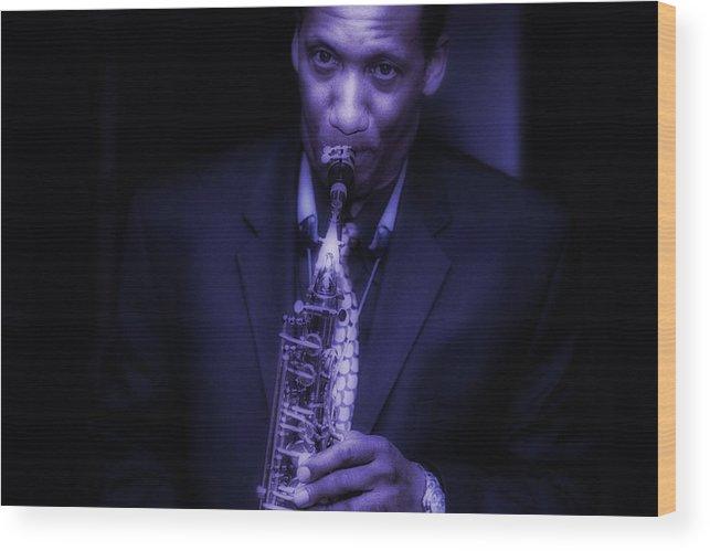 Music Wood Print featuring the photograph Blues by Robert Ullmann