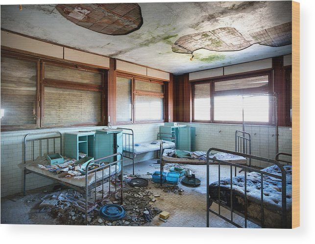 Abandoned Wood Print featuring the photograph Boarding School Nightmare - Abandoned Building by Dirk Ercken