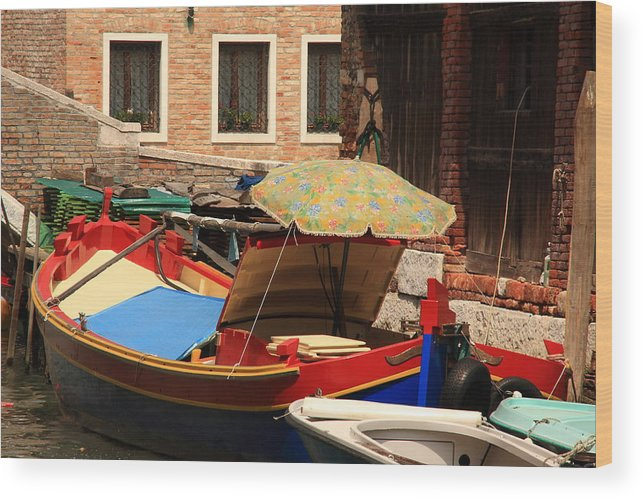 Venice Wood Print featuring the photograph Boat With Umbrella On Canal In Venice by Michael Henderson