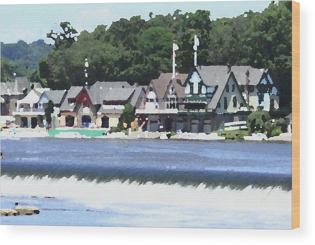 Boathouse Wood Print featuring the photograph Boathouse Row - Palette Knife by Lou Ford