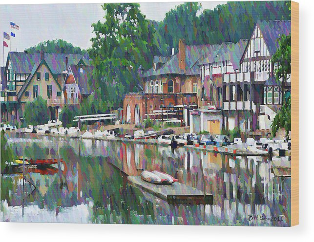 Boathouse Wood Print featuring the photograph Boathouse Row In Philadelphia by Bill Cannon