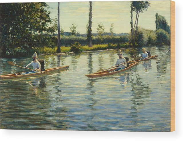 Angler Wood Print featuring the painting Boating On The Yerres Perissoires Sur Lyerres 1877 by Gustave Caillebotte
