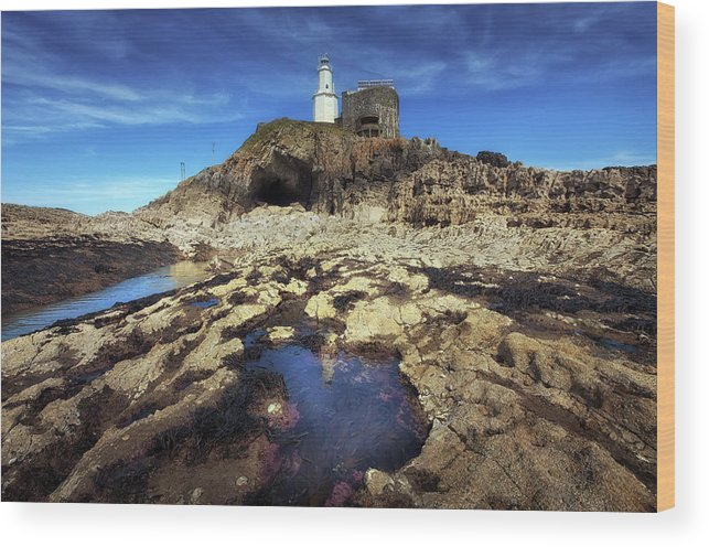 Bob's Cave Wood Print featuring the photograph Bob's Cave At Mumbles Lighthouse by Leighton Collins