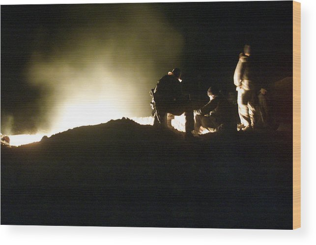 War Wood Print featuring the photograph Bomb Crater Kandahar by Thomas Michael Corcoran