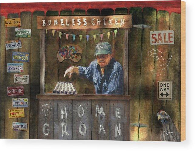 Egg Sale Wood Print featuring the painting Boneless Chicken Sale by Robert Pratt