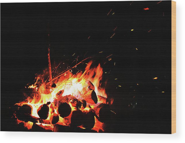 Bonfire Wood Print featuring the photograph Bonfire by Tinto Designs