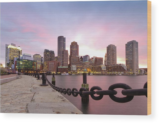 Horizontal Wood Print featuring the photograph Boston Harbor by Photo by Jim Boud