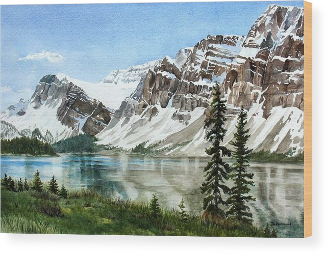 Bow Lake Wood Print featuring the painting Bow Lake Alberta No.2 by Debbie Homewood