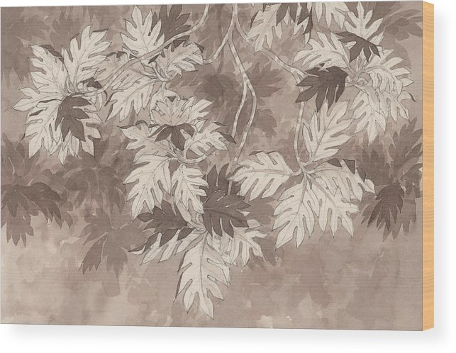 Landscape Wood Print featuring the painting Breadfruit Tree by Judith Kunzle