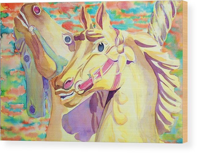 Carousel Wood Print featuring the painting Breaking Free by Janice Gell
