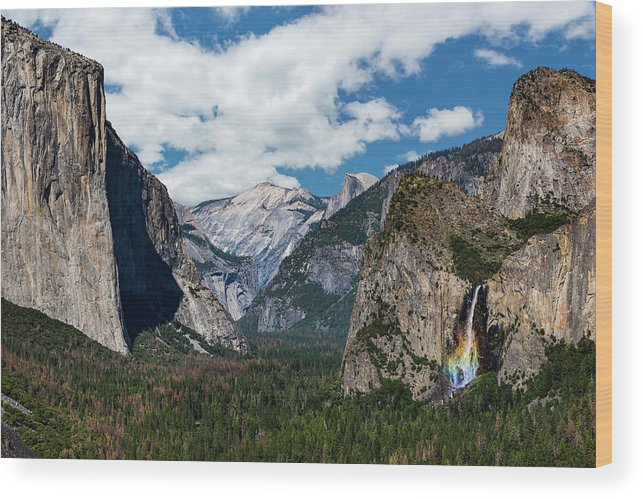 Yosemite Wood Print featuring the photograph Bridal Veil Falls Rainbow by Daniel Kelly