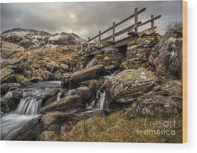 Waterfall Wood Print featuring the photograph Bridge To Moutains by Adrian Evans