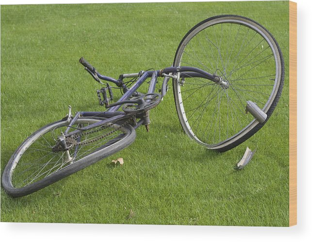 Wheel Wood Print featuring the photograph Broken Bicycle by Carl Purcell