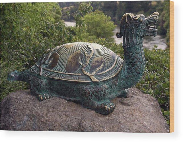 Bronze Turtle Dragon Sculpture Wood Print featuring the photograph Bronze Turtle Dragon Sculpture by Sally Weigand
