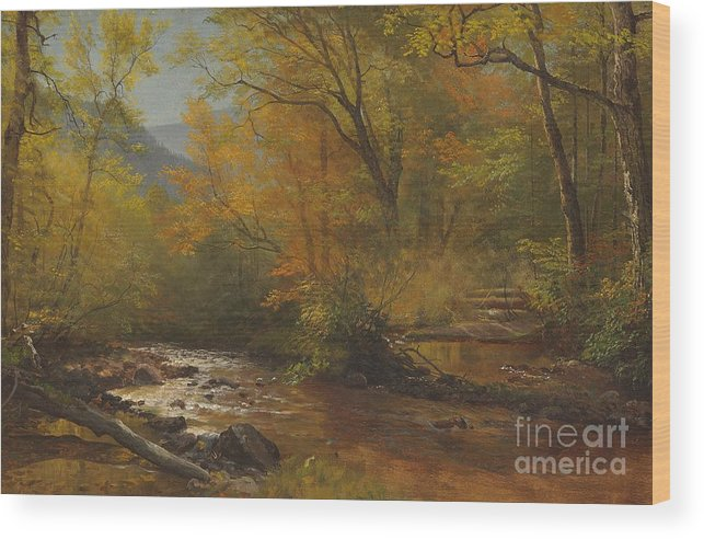 Landscape; Romantic; Romanticist; America; North America; American; North American; Landscape; Rural; Countryside; Wilderness; Scenic; Picturesque; Atmospheric; Brook; Babbling; Stream; River; Wood; Woods; Wooded; Forest; Autumn; Fall; Autumnal; Seasons; Calm; Peaceful; Tranquil Wood Print featuring the painting Brook In Woods by Albert Bierstadt