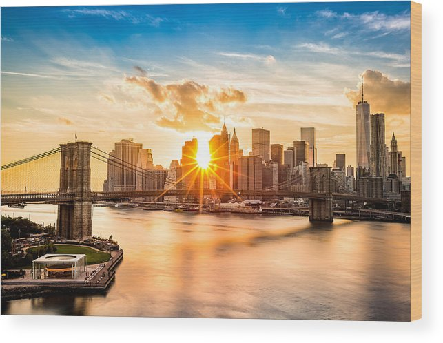 America Wood Print featuring the photograph Brooklyn Bridge And The Lower Manhattan Skyline At Sunset by Mihai Andritoiu