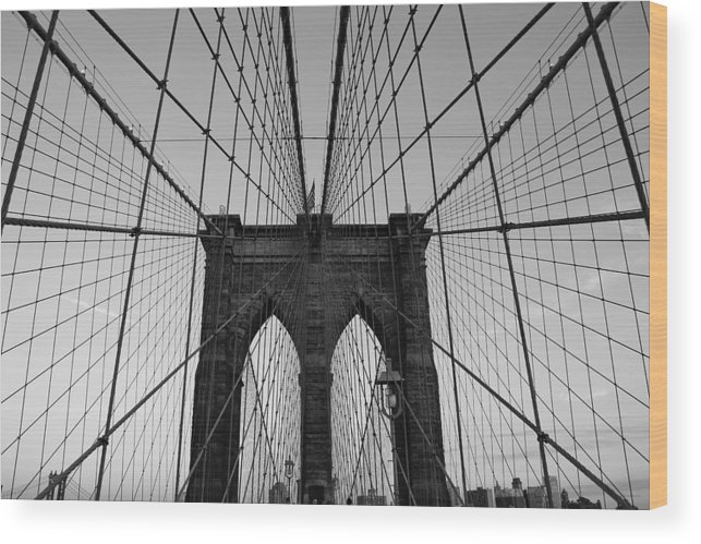 Brooklyn Bridge Wood Print featuring the photograph Brooklyn's Web by Joshua Francia