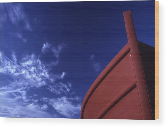 Brown; Boat; Blue; Sky; Crete; Cretan; Cultural; Customs; Destinations; Europe; European; Eu; Fishin Wood Print featuring the photograph Brown Fishing Boat by Steve Outram