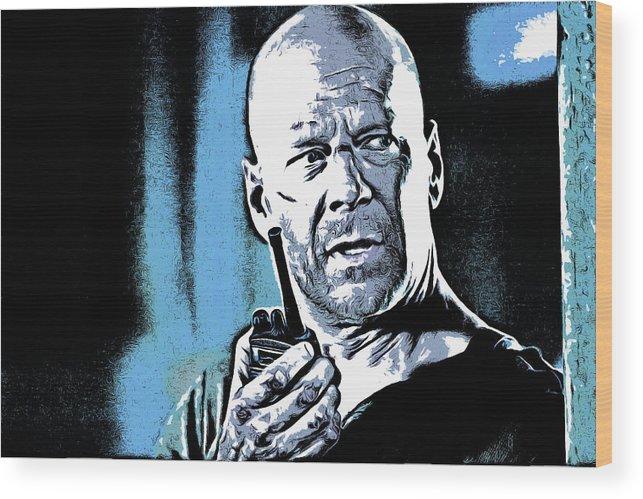 Bruce Willis Wood Print featuring the digital art Bruce Willis by Galeria Trompiz