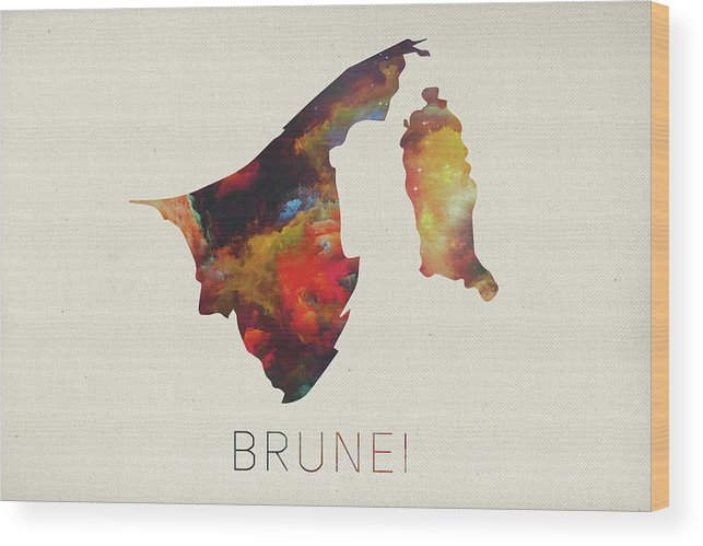 Brunei Wood Print featuring the mixed media Brunei Watercolor Map by Design Turnpike