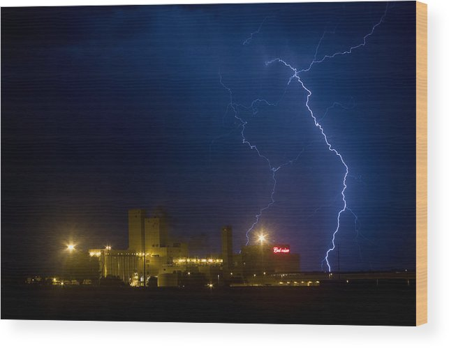 Buswesier Wood Print featuring the photograph Budweiser Beer Brewery Storm by James BO Insogna