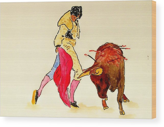 Spain Wood Print featuring the painting Bull Fighter by Leo Gordon