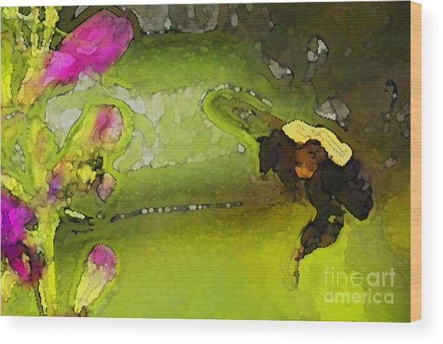 Bumble Bee Wood Print featuring the digital art Bumble Bee And Penstemon Over Pond by Annie Johnson