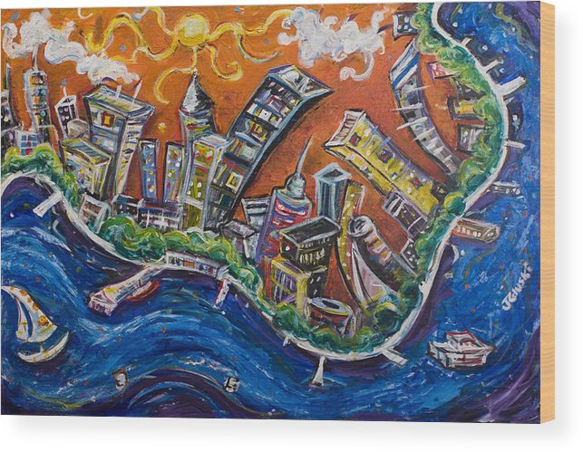 New York City Manhattan Hudson River Wood Print featuring the painting Burning City by Jason Gluskin