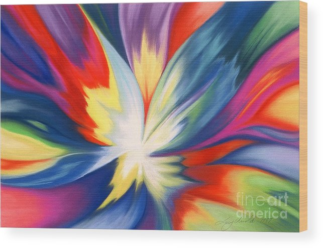 Abstract Wood Print featuring the painting Burst Of Joy by Lucy Arnold