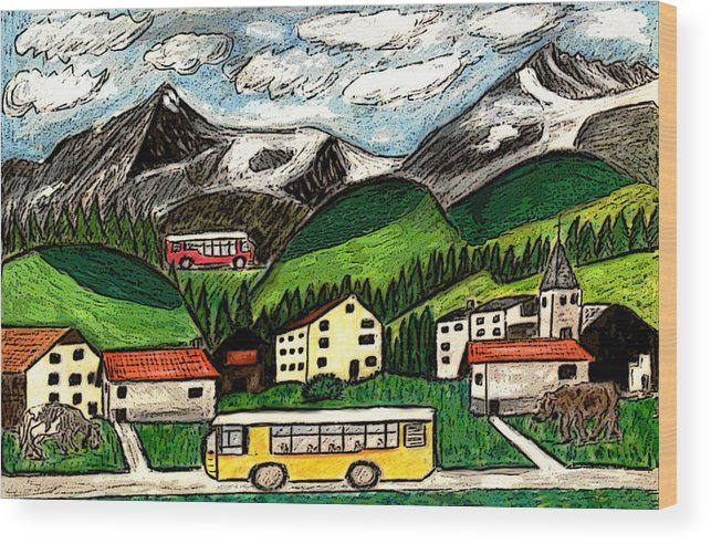 Switzerland Art Drawing Mixed Media Travel Landscape Tour Places Europe Houses Mountains Cows Wood Print featuring the painting Bus Travel by Monica Engeler