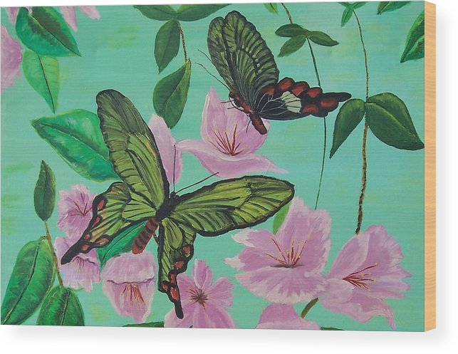 Butterfly Wood Print featuring the painting Butterflies In Flight by Martha Mullins