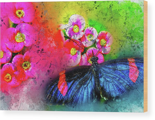 Abstract Wood Print featuring the photograph Butterfly Color Explosion by Kay Brewer