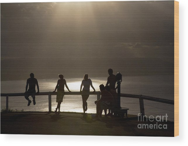 Byron Bay Lighthouse Silhouette Sunset Rays Wood Print featuring the photograph Byron Bay Lighthouse by Sheila Smart Fine Art Photography