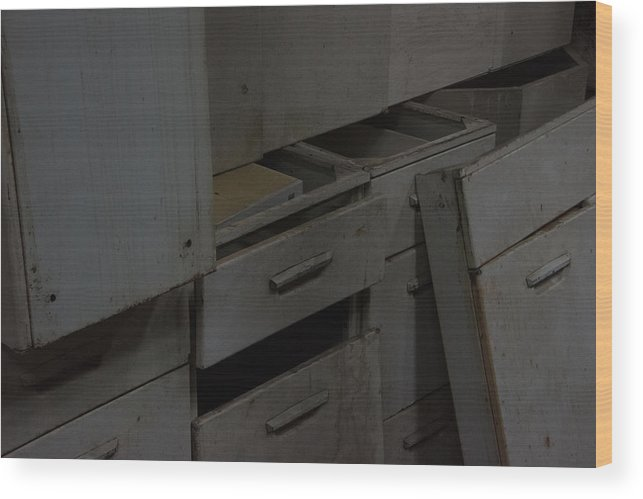 Wood Print featuring the photograph Cabinets by Andrew Wohl