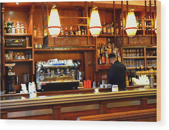 Parisian Coffee Bar Wood Print featuring the photograph Cafe by Marla McPherson