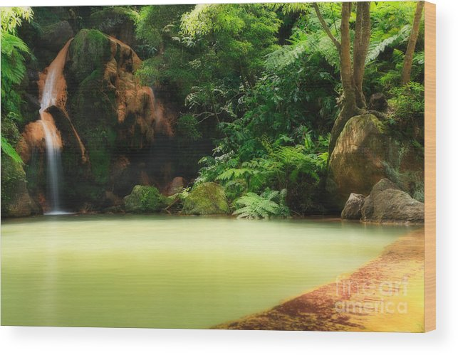 Azoren Wood Print featuring the photograph Caldeira Velha Thermal Pool by Gaspar Avila