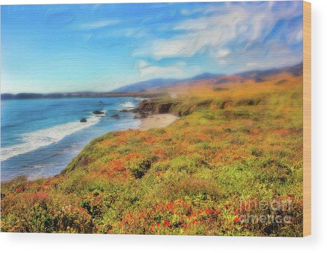 California Wood Print featuring the painting California Coast Wildflowers On Cliffs Ap by Dan Carmichael