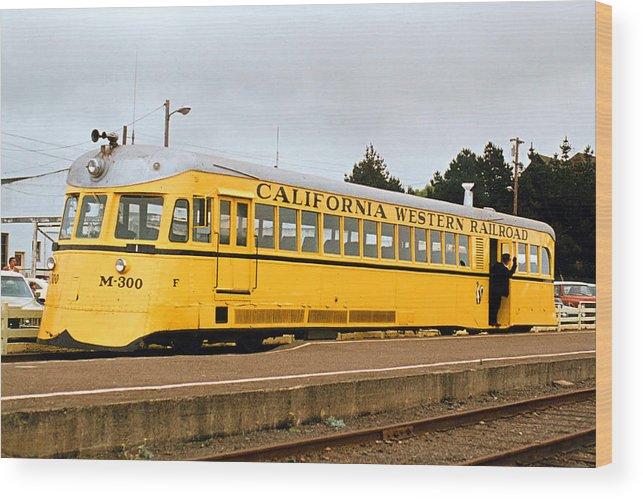 Motorcar Wood Print featuring the photograph California Western Railroad Motorcar M300 Fiort Bragg California by Brian Lockett